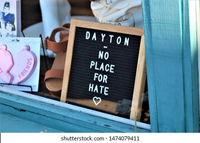 Dayton, Ohio / United States - August 7 2019: The community shows support after a mass shooting left nine dead and dozens injured in the Oregon District