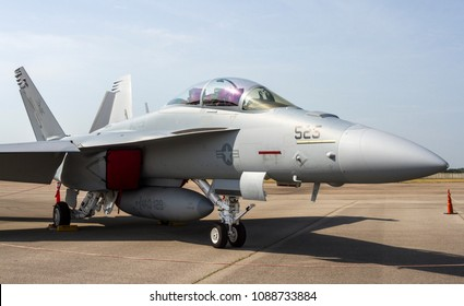 DAYTON, OHIO / USA - July 23, 2011: A United States Navy F-18 Hornet sits on static display at the 2011 Dayton Airshow.