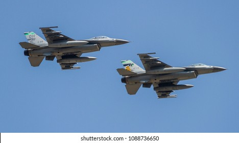 DAYTON, OHIO / USA - July 23, 2011: A pair of F-16 Fighting Falcons perform a flyby at the 2011 Dayton Airshow.