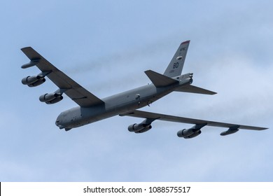 DAYTON, OHIO / USA - July 7, 2012: A United States Air Force B-52 Stratofortress performs a flyover at the 2012 Dayton Airshow.