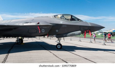 DAYTON, OHIO / USA - June 18, 2016: A United States Air Force F-35 Lightning II sits on static display at the 2016 Vectren Dayton Airshow.