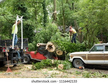 Dayton, Ohio, USA - June 19, 2018: Workers attach cable to lift 50-foot-tree that crushed a Jeep after a severe thunderstorm swept through Dayton, Ohio, leaving the 5 foot-wide trunk in splinters.