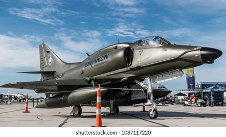 DAYTON, OHIO / USA - June 20, 2015: An A-4 Skyhawk sits on static display at the 2015 Dayton Airshow.