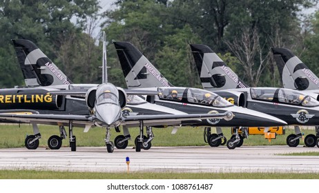 DAYTON, OHIO / USA - June 20, 2015: The French Breitling Jet Team performs at the 2015 Dayton Airshow, flying the  Czech Aero L-39 Albatros.
