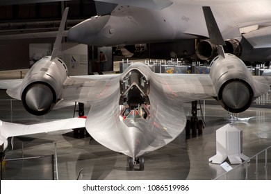DAYTON, OHIO / USA - March 3, 2013: An SR-71 Blackbird sits on display at the United States Air Force Museum in Dayton, Ohio.