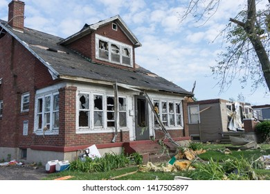 Dayton, Ohio, USA May 29, 2019: Destroyed windows of house after tornado