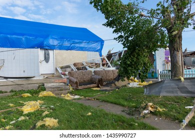 Dayton, Ohio, USA May 29, 2019: Furniture in front yard in tornado aftermath