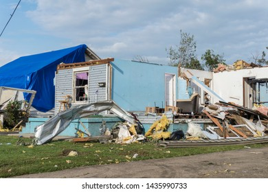Dayton, Ohio, USA May 29, 2019: House with outside walls gone after tornado