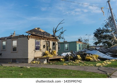 Dayton, Ohio, USA May 29, 2019: Tornado aftermath with debris scattered in neighborhood