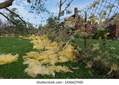 Dayton, Ohio, USA May 29, 2019: Insulation against fence in tornado aftermath