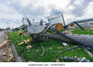 Dayton, Ohio, USA May 29, 2019: Tornado aftermath with downed power line