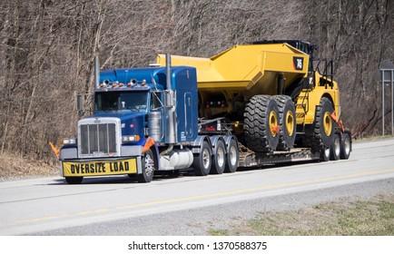 Dayton, VA / USA - April 03 2019: Big Rig on Highway