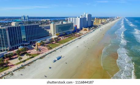 Daytona Beach along the Atlantic Sea, Florida aerial view.