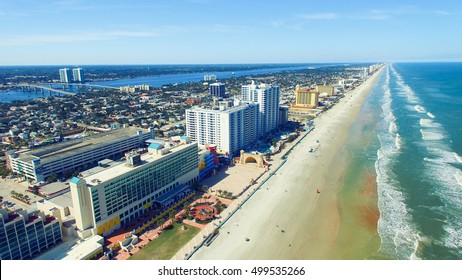 Daytona Beach along the Atlantic Sea, Florida aerial view.