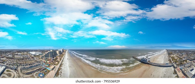 Daytona Beach coastline at sunset, beautiful panoramic view of Florida.