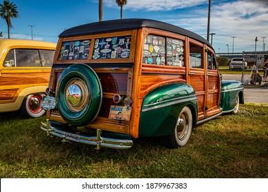 Daytona Beach, FL - November 27, 2020: 1947 Mercury Eight Woody Station Wagon at a local car show.