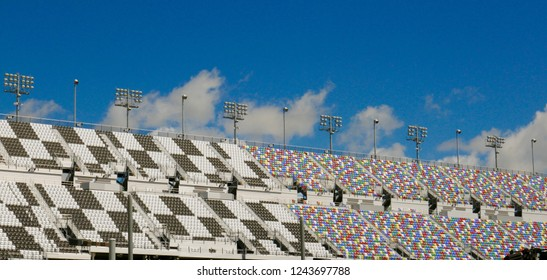 Daytona Beach, FL / USA - 08/14/2017: Colorful empty stadium seating at the Daytona International Speedway