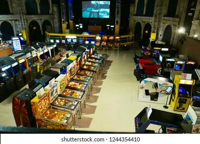 Daytona Beach, FL / USA - 09/28/2018: Interior of the Daytona Arcade Museum