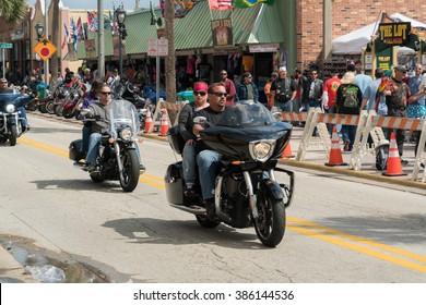 Daytona Beach, Fl, USA - March 4, 2016: The 75th Anniversary of the Daytona Beach Bike Week.