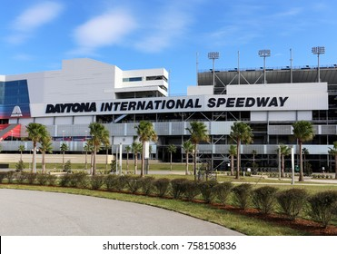 DAYTONA BEACH, FL, USA - NOVEMBER 16: The outside of Daytona International Speedway on November 16, 2017. Daytona International Speedway is home to the NASCAR Daytona 500 race.