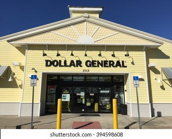 DAYTONA BEACH, FL-MARCH 19, 2016:  New Dollar General store in this Florida beach town. Dollar General is a small box retailer with thousands of stores throughout the United States.