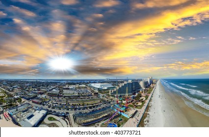 Daytona Beach, Florida. Beautiful aerial view on a sunny day.