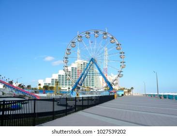 Daytona Beach, Florida boardwalk and Ferris Wheel background