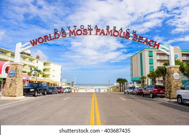 "DAYTONA BEACH, FLORIDA - JANUARY 3, 2015: Daytona Beach sign. The popular spring break destination is dubbed ""World's Most Famous Beach."""
