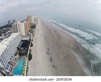 Daytona Beach Florida on a hazy day aerial view
