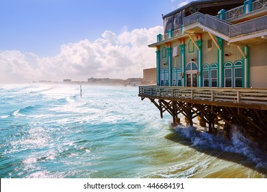 Daytona Beach in Florida with pier and coastline USA