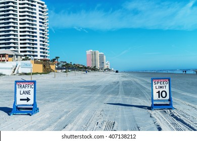 Daytona Beach, Florida. Road traffic signs on the beach.