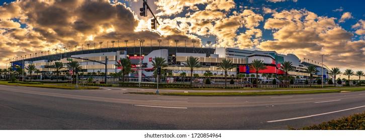 Daytona Beach, Florida, USA - January 9, 2020 : Panorama of the Daytona International Speedway stadium. This race track is the home of the Daytona 500, the most famous race in NASCAR.