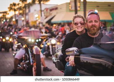 Daytona Beach, Florida, USA March-17-2018 : Daytona Beach Bike Week 2018 Parade of Motorcyles