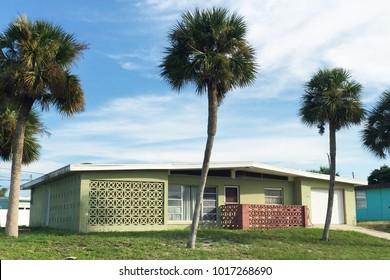 DAYTONA BEACH SHORES, FLORIDA-SEPTEMBER 25, 2016:  Typical mid-century modern house in suburban Florida.