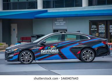 Daytona, Florida. July 18, 2019. Daytona 500 car at Daytona International Speedway 1