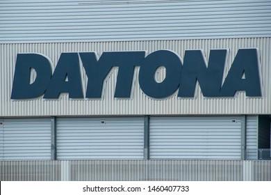 Daytona, Florida. July 18, 2019. Top view of Daytona letters at Daytona International Speedway