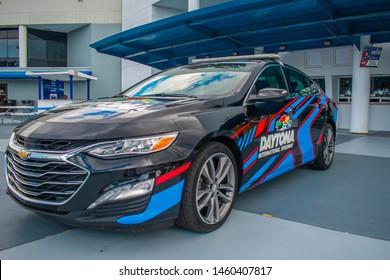 Daytona, Florida. July 18, 2019. Daytona 500 car at Daytona International Speedway 3.