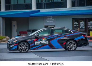 Daytona, Florida. July 18, 2019. Daytona 500 car at Daytona International Speedway 2