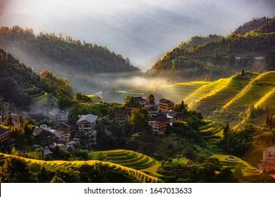 Dazai terraces and villages at Longji,Guangxi,China.