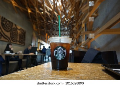 Dazaifu, Fukuoka/ Japan-April 30, 2017:This is a photo taken inside Starbucks ' concept store in Dazaifu. The drink is an iced americano.