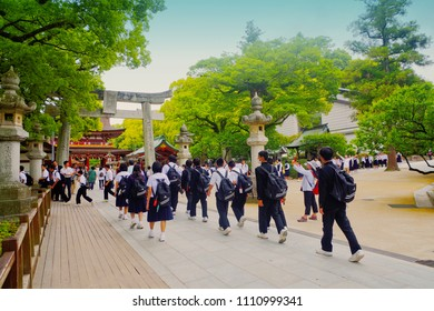 Dazaifu, Fukuoka, Kyushu, Japan - May 17th ,2015 : Japanese high school students visited dazaifu tenmangu shrine ,where is famous landmark shinto buddhist temple to learning history in fields trip.
