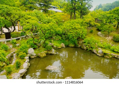 Dazaifu, Fukuoka, Kyushu, Japan - May 17th ,2015 : Beautiful natural landscape green space inside Dazaifu Tenmangu Shrine ,is Japanese Temple Garden and Shinji pond ,where is famous shinto shrine.