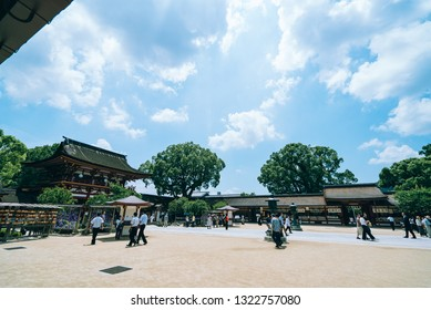 Dazaifu, Japan - June 9, 2016: Many tourists and local people visits Dazaifu Tenmangu Shrine, Japan