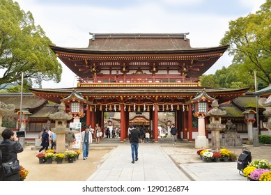 Dazaifu, Japan - November 19, 2018: Many tourists and local people visits Dazaifu Tenmangu Shrine, Japan