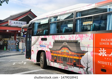Dazaifu, Japan - November 19, 2018: Dazaifu bus is waiting for passenger in front of Dazaifu station, Fukuoka, Japan