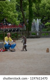 DAZAIFU TEMPLE, JAPAN - MAY 14,2015: The old man with monkey show in the area of Dazaifu temple, Fukuoka