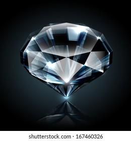 Dazzling diamond on black background with reflection - raster version