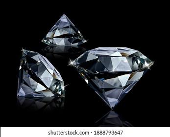 Dazzling diamond on black background