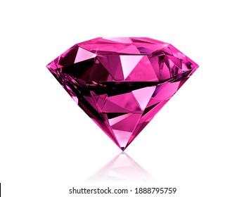 Dazzling diamond pink gemstones on white background
