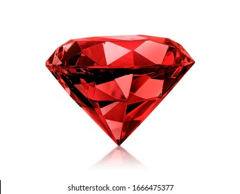 Dazzling diamond red gemstones on white background
